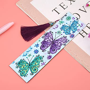 Bskifnn 2Pack Diamond Painting Bookmarks DIY Bookmarks with Tassel Great Gifts for Christmas, Thanksgiving, New Year, Birthda