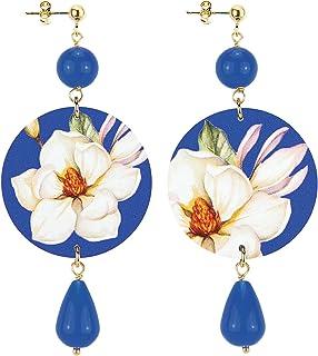 in Lebole Collezione The Circle DOR28 Fiore Bianco Orecchini da Donna in Ottone Pietra Blu