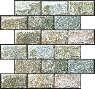"""Joqixon Peel and Stick Wall Tile for Kitchen Backsplash Subway Tile Backsplash 3D Brick Tile Peel and Stick Bathroom Wall Tile Stickers, 6 Sheets (10""""x10.6"""")"""