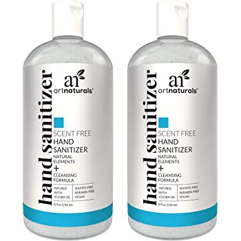 Artnaturals Alcohol Based Hand Sanitizer Gel (2 Pack x 8 Fl Oz / 220ml) Infused with Jojoba Oil - Unscented Fragrance Free