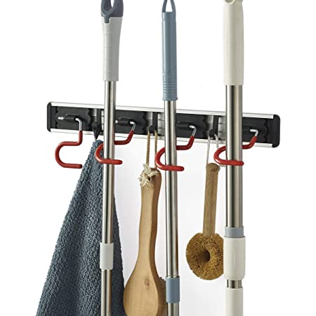 Details about  /Stainless Steel Wall Mounted Home Broom Mop Hook Storage Anti Slip S Type Holder