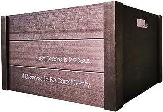 Nai-storage Caja de Almacenamiento de Discos de Vinilo LP de Madera Grande, Capacidad hasta 80 Registros, Estante de revis...