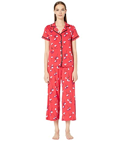 Kate Spade New York Modal Jersey Printed Short Sleeve Cropped PJ Set (Small Poppies) Women