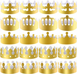 SIQUK 25 Pieces Paper Crowns Gold Party Crown Paper Hats Party King Crown for Party and Celebration