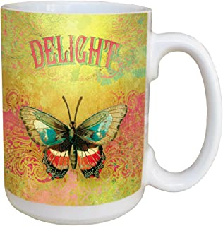 Tree-Free Greetings Angi and Silas Butterfly Delight Ceramic Mug with Full-Sized Handle, 15-Ounce