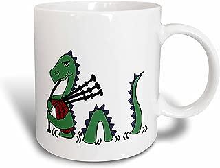 3dRose mug_200125_1 Funny Loch Ness Monster Playing The Bagpipes Ceramic Mug, 11-Ounce
