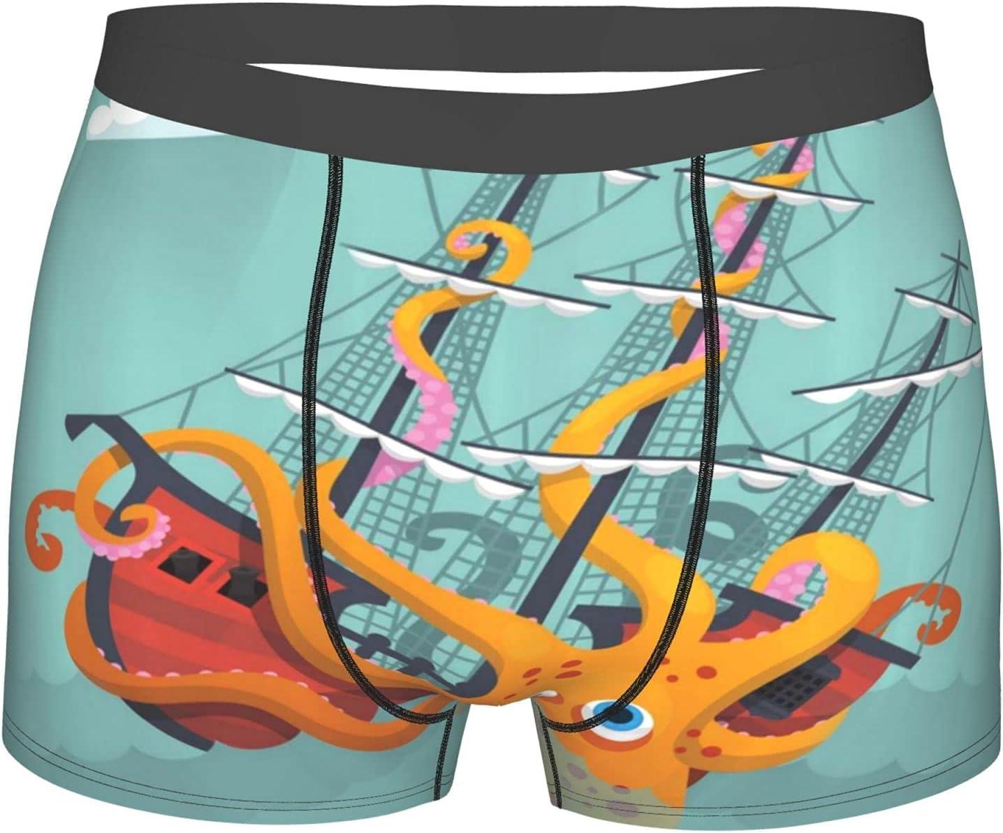 1 year warranty YAZXHJAZ Max 44% OFF Underwear Mens Boxer Briefs Kraken Giant Sinking Squid