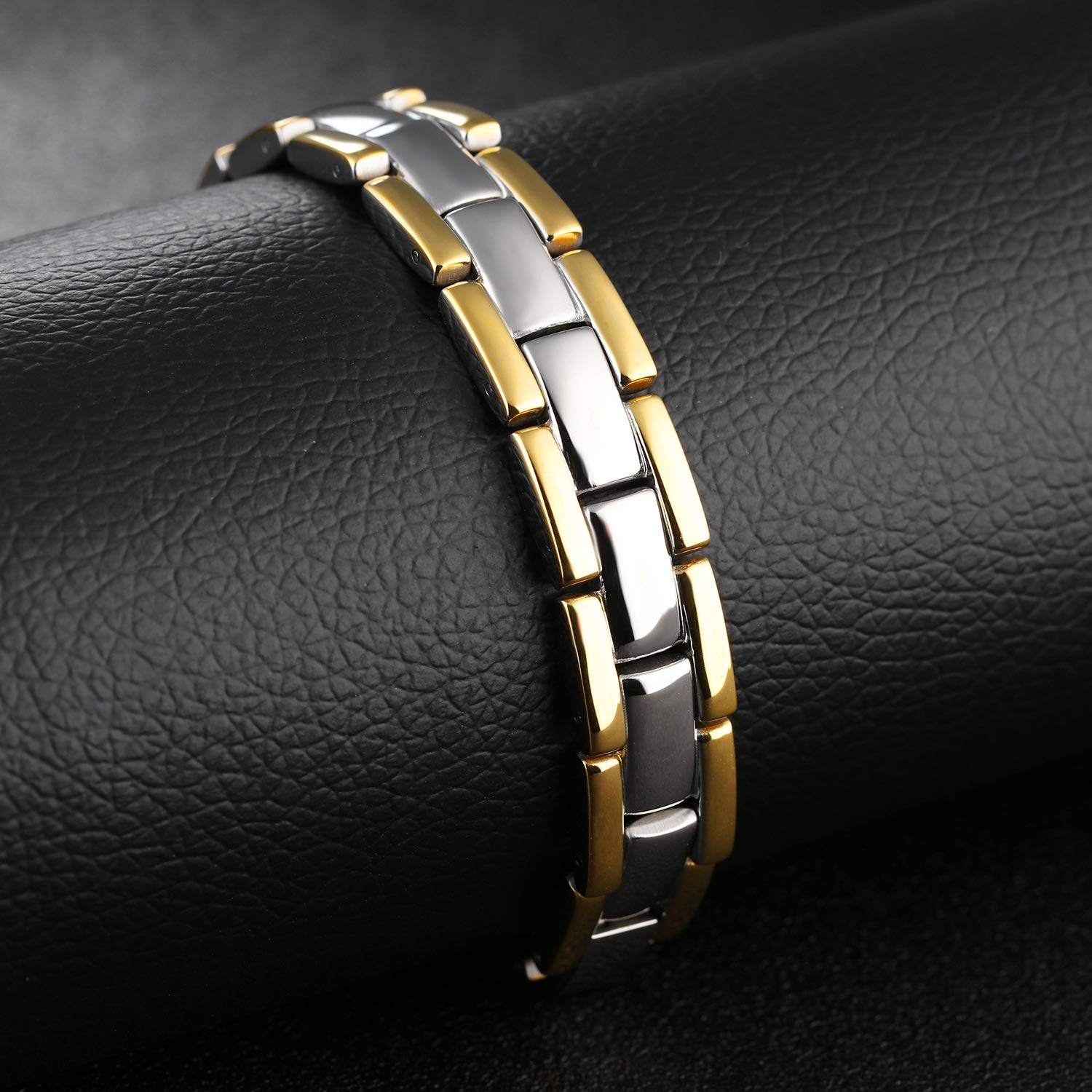 Jeracol Magnetic Bracelet Magnetic Therapy Bracelets Pain Relief for Arthritis and Carpal Tunnel Health Care Gift for Men and Womens Wristband Adjustable with Remove Tool & Gift Box.