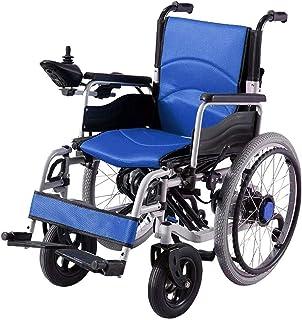 De Peso Ligero Plegable sillas de Ruedas eléctrica Silla de Ruedas eléctrica 250 2W 24V 12Ah por Li-Ion, Caja Larga Gama de conducción de Ruedas Eléctrica y fácil de Conducir (Color : Blue)