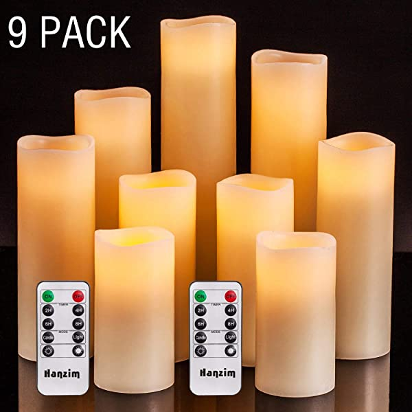 HANZIM Flameless Candles Battery Operated Candles 4 5 6 7 8 9 Set Of 9 Ivory Real Wax Pillar LED Candles With 10 Key Remote And Cycling 24 Hours Timer 9
