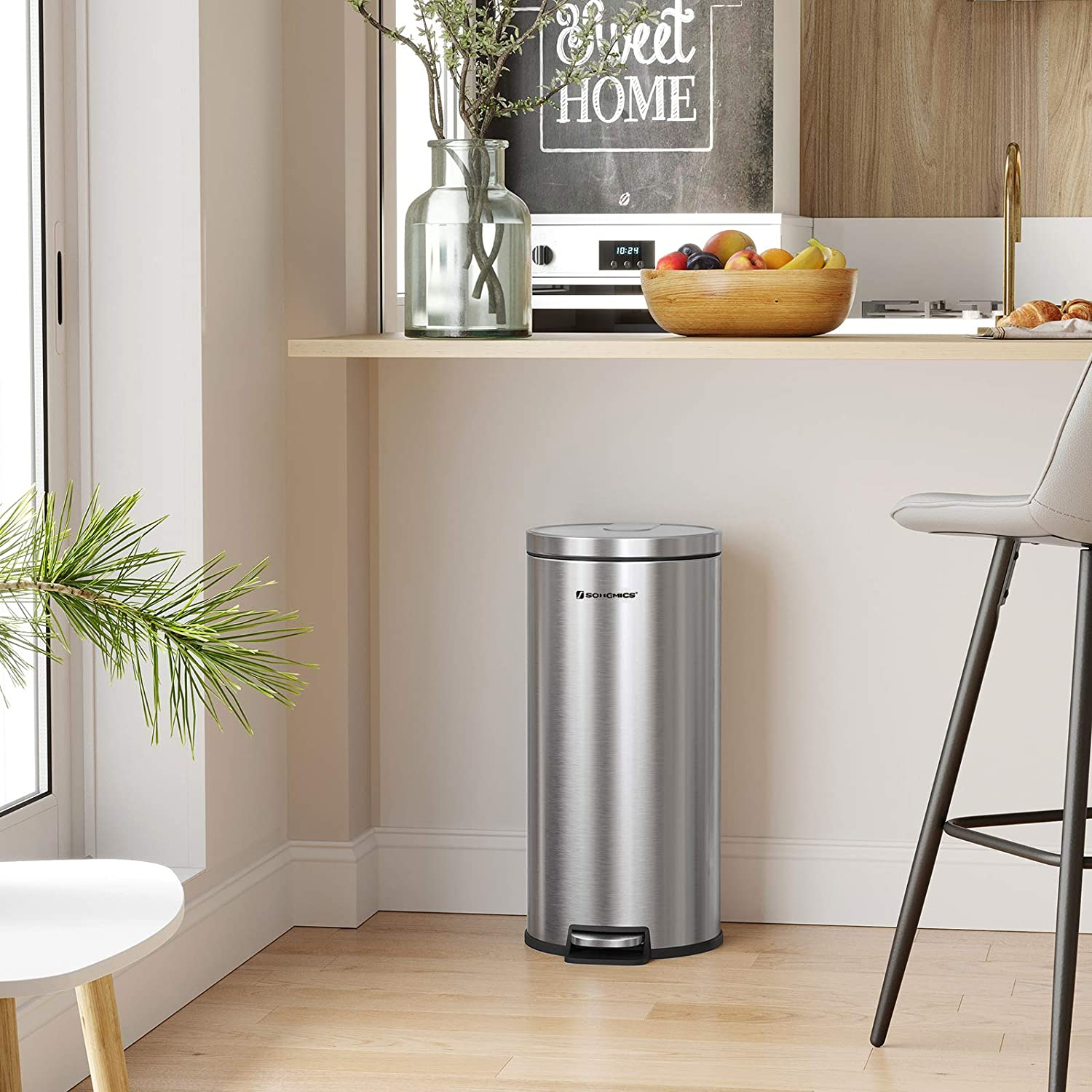 Living Room Office Fingerprint Proof SONGMICS Rubbish Bin Silver LTB006E01 for Kitchen with Plastic Inner Bucket and Lid Soft Closure 30L Pedal Trash Can