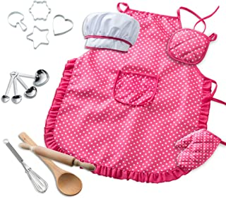 MAIAGO Kids Chef Set, Chef Costume for Kids Cooking with Chef Hat, Cooking Mitt and Cookie Cutters, Great Gift for Children Role Play - Pack of 15