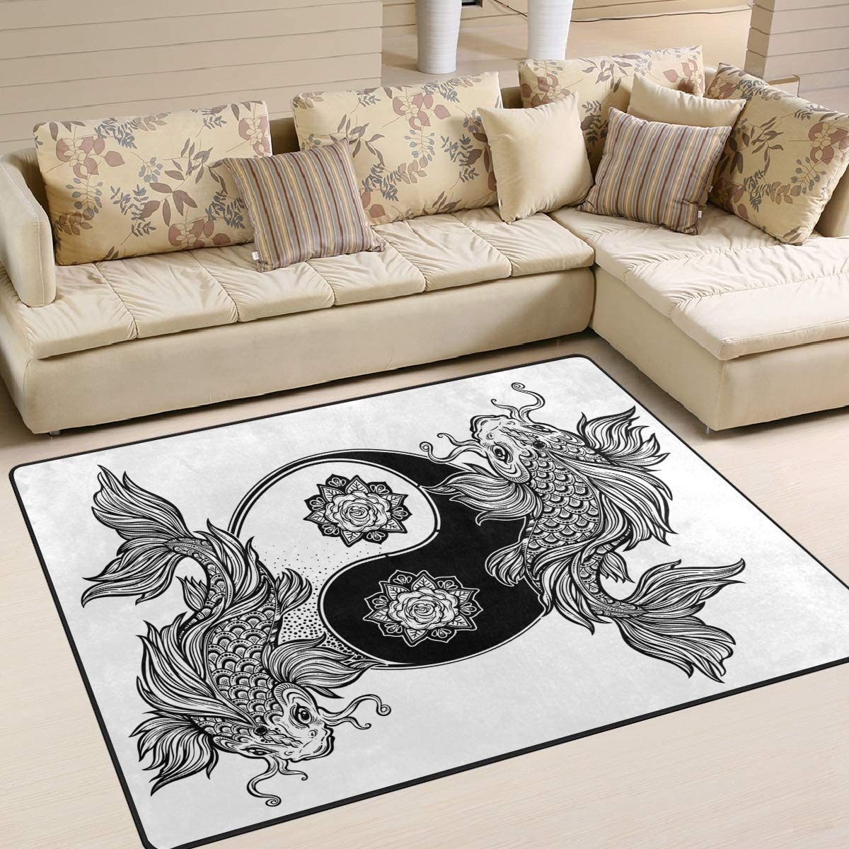 ALAZA Koi Carp Fish Asian Yin Yang Max 75% New product! New type OFF Rug Rugs Lily Water Area for