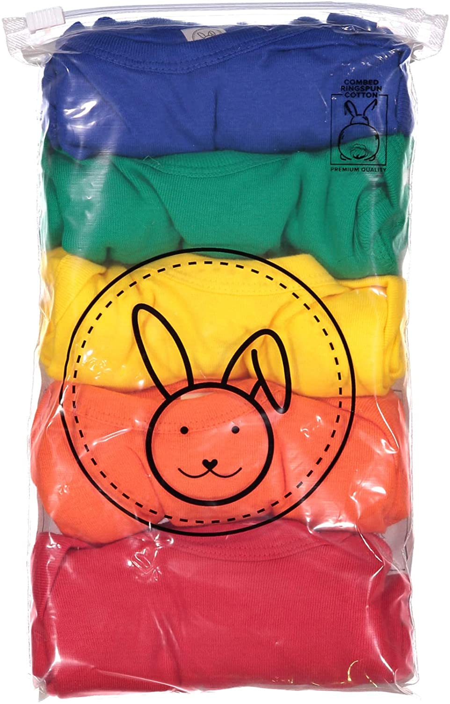 Rabbit Skins 5-Pack Multi-color 100% Cotton Infant Baby Rib Bodysuit (4400K): Clothing