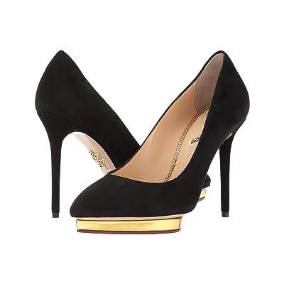 Charlotte Olympia Debbie (Black Suede/Metallic Calf) High Heels
