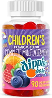 Dippin' Dots - Multivitamin Gummies for Kids (90 Count) | Rainbow Fruit Flavor Complete Multivitamin Chewy Gummies | Premi...