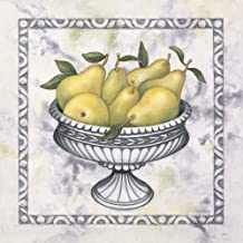 Pears in A Silver Bowl by Debra Lake Art Print, 10 x 10 inches