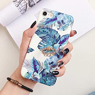 9Guu Retro Banana Leaf Floral Case for iPhone XR XS Max XS 7 8 Case Flower Ring Kickstand Cover for iPhone 7 8 Plus Shell (Style1, for iPhone Xs Max)