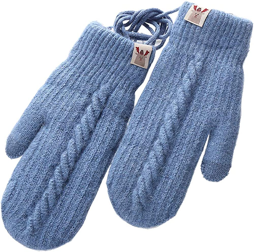 Xinqiao Womens Cold Weather Mittens Knitted Thicken Gloves with Fleece Lining