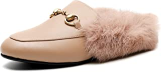COLETER Women's Leather Mule Flats Embroidery Backless Loafers with Rabbit Fur Slip On Slippers