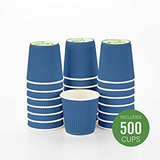 Disposable Paper Hot Cups - 500ct - Hot Beverage Cups, Paper Tea Cup - 4 oz - Midnight Blue - Ripple Wall, No Need For Sleeves - Insulated - Wholesale - Takeout Coffee Cup - Restaurantware