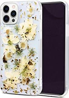 Abbery Designed for iPhone 12 Pro Max Flower Case, Clear Soft TPU Flexible Rubber Pressed Dried Real Flowers Case Compatib...