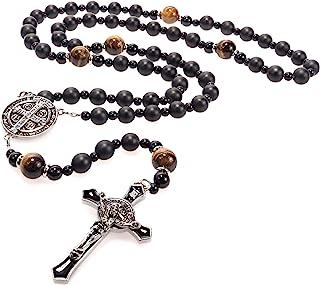 Nuevo Rosario católico de cuentas negras para hombres - Rosario de ónix resistente - Rosario de piedra hecho a mano con cr...