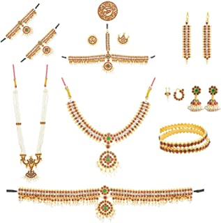 Fashionatelier Bharatanatyam Full Dance Set (10 Items) for Kids