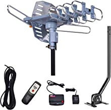 150 Miles Range Amplified Digital Outdoor TV Antenna with Mount Pole 4K/1080p High..