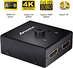 4K HDMI Switch, Amanka HDMI Bi-directional 1x2 / 2x1 AB Switcher Splitter with 2 Port Supports Ultra HD 4K 1080P 3D HDCP Pass Through
