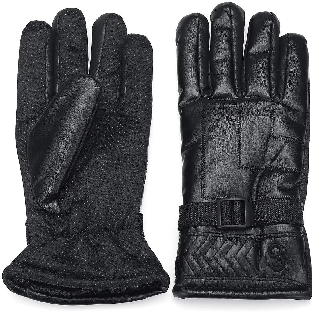 Lupovin-Keep Warm Strong Gloves Mittens Simulation Leather Good Fluff Windproof Motorcycle Cold Protection Non-Slip (Color : Black)