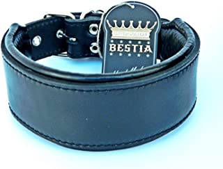 Bestia genuine leather dog collar, Soft padded, Large breeds, cane corso, Rottweiler, Boxer, Bullmastiff, Dogo, Bully, Quality dog collar, 100% leather, complete black, M- XXL size, 2.5 inch wide. Soft padded. Europe`s finest hand made collars!