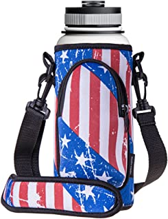 RoryTory Neoprene Water Bottle Sleeve Carrier Holder with Shoulder Strap, Pouch, Pocket & Carrying Handle (Fits 32oz / 40oz Hydro Flask, Nalgene, Juglug, Contigo, etc) Great for Glass, Plastic, Metal
