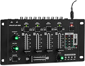 Resident DJ Amnesia - 4-Kanal Mixer, Mischpult, Bluetooth, MP3-fähiger USB-Port, Mikrofon- & Kopfhörer-Lautstärke stufenlos regelbar, 2 x 6,3mm-Klinke-Mikrofon-Eingang, Metall-Chassis, schwarz
