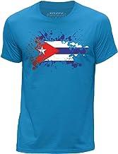 Stuff4® Hombres/Grande (L)/Azul/Cuello Redondo de la Camiseta/Cuba/Cubano Bandera Splat