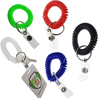 5 Pack - Ultimate Wrist Coil Camper Keychains for Work and Play - Premium Elastic Bungee Badge Holder & Key Chain Ring (One Size Fits All) by Specialist ID (Assorted Colors)