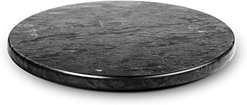 Flexzion Marble Pastry Board - Black, 12 inch Round Non-Stick Stain & Heat Resistant Charcuterie Cheese Dough Cutting Serving Cutlery Board Tray for Parties, Kitchen