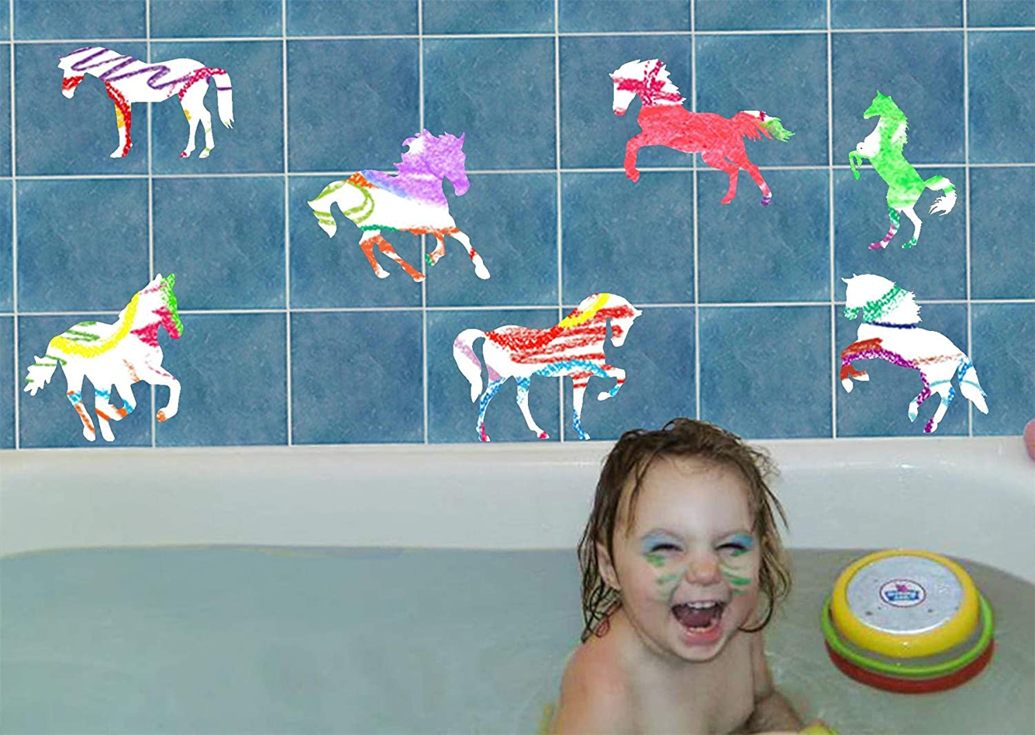 Bath Max 73% OFF Crayons for Kids with Horse Vinyl Easy - Decals Bargain Colors Cl 6