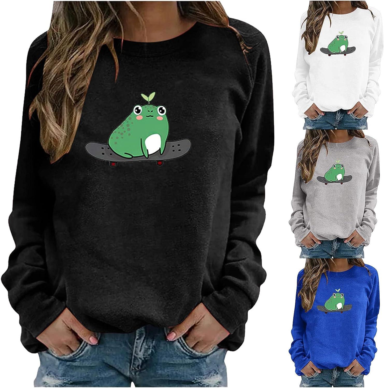Lovor Hoodies for Women Pullover Graphic Casual Solid Color Long Sleeve Hoodies Teen Girls Cute Frog Print Sweatshirt
