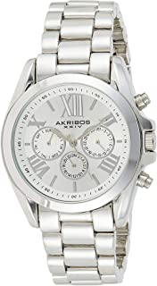 Akribos XXIV Women's Silver Multifunction Military Time Oversized Watch - Sunburst Dial with Luminous Markers and Date and...