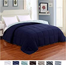 Homelike Moment Reversible Lightweight Comforter - All Season Down Alternative Comforter Twin Summer Duvet Insert Blue Quilted Bed Comforters with Corner Tabs Twin Size Navy/Light Blue