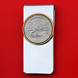 US 2014 Colorado Great Sand Dunes National Park Quarter BU Uncirculated Coin Solid Brass Gold Silver Two Tone Money Clip New - America the Beautiful