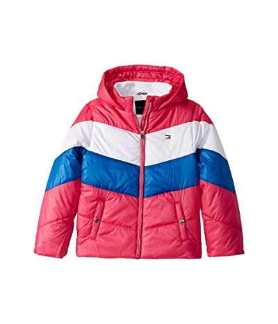 Tommy Hilfiger Kids Short Length Chevron Puffer Jacket (Big Kids) (Beetroot Purple) Girl