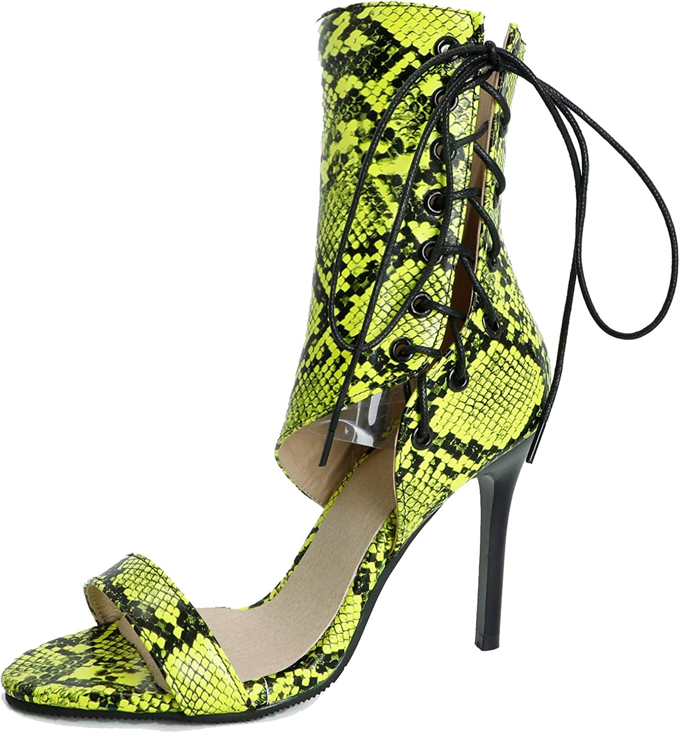 LaShoes Women safety Peep-Toe Sandals with Zipper Lace-up Latest item and