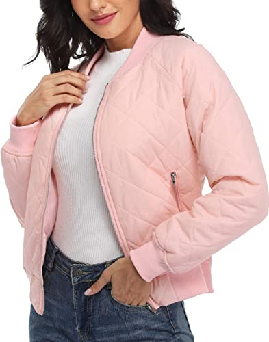 andy & natalie Women's Quilted Jacket Long Sleeve Zip up Raglan Bomber Jacket with Pockets