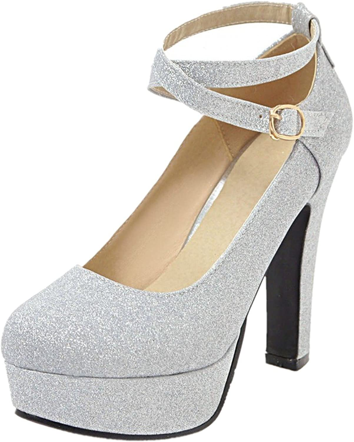 Rongzhi Womens Pumps Thick High Heels Ankle Strap Buckle Platform Round Toe Dress Party Heeled shoes