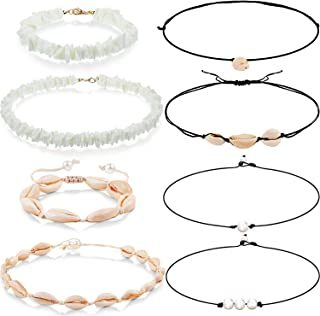 8 Pieces Freshwater Pearl Shell Necklace Bracelet Puka Shell Choker Necklace Bracelet for Women Girl Boho Hawaiian Wearing