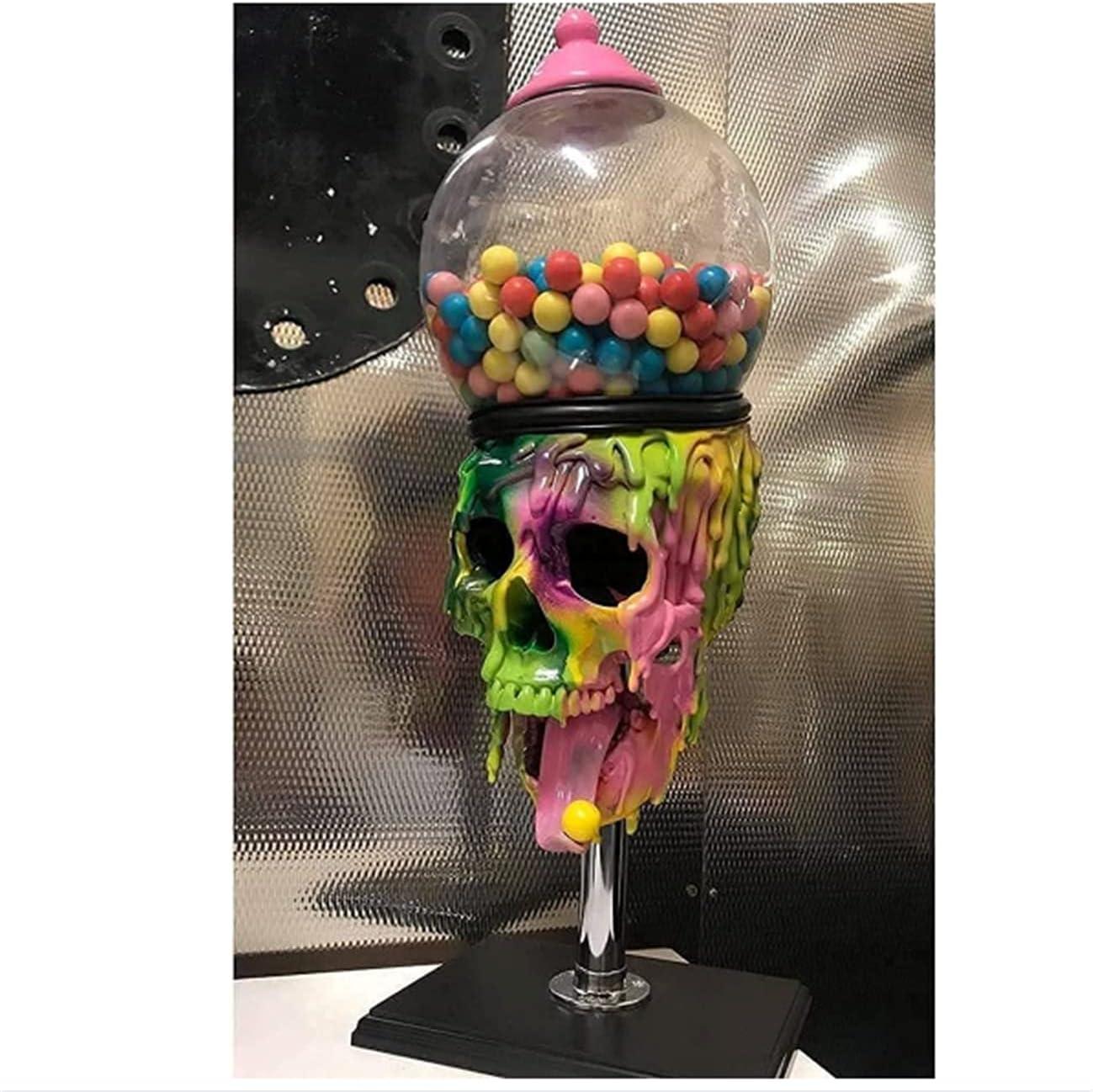 NHY Decoraciones del cráneo de Halloween, Escultura de Halloween, Máquina de chicles de Burbujas, Dispensador de Caramelo de Skull, Dispensador de máquinas expendedoras de Gumball,