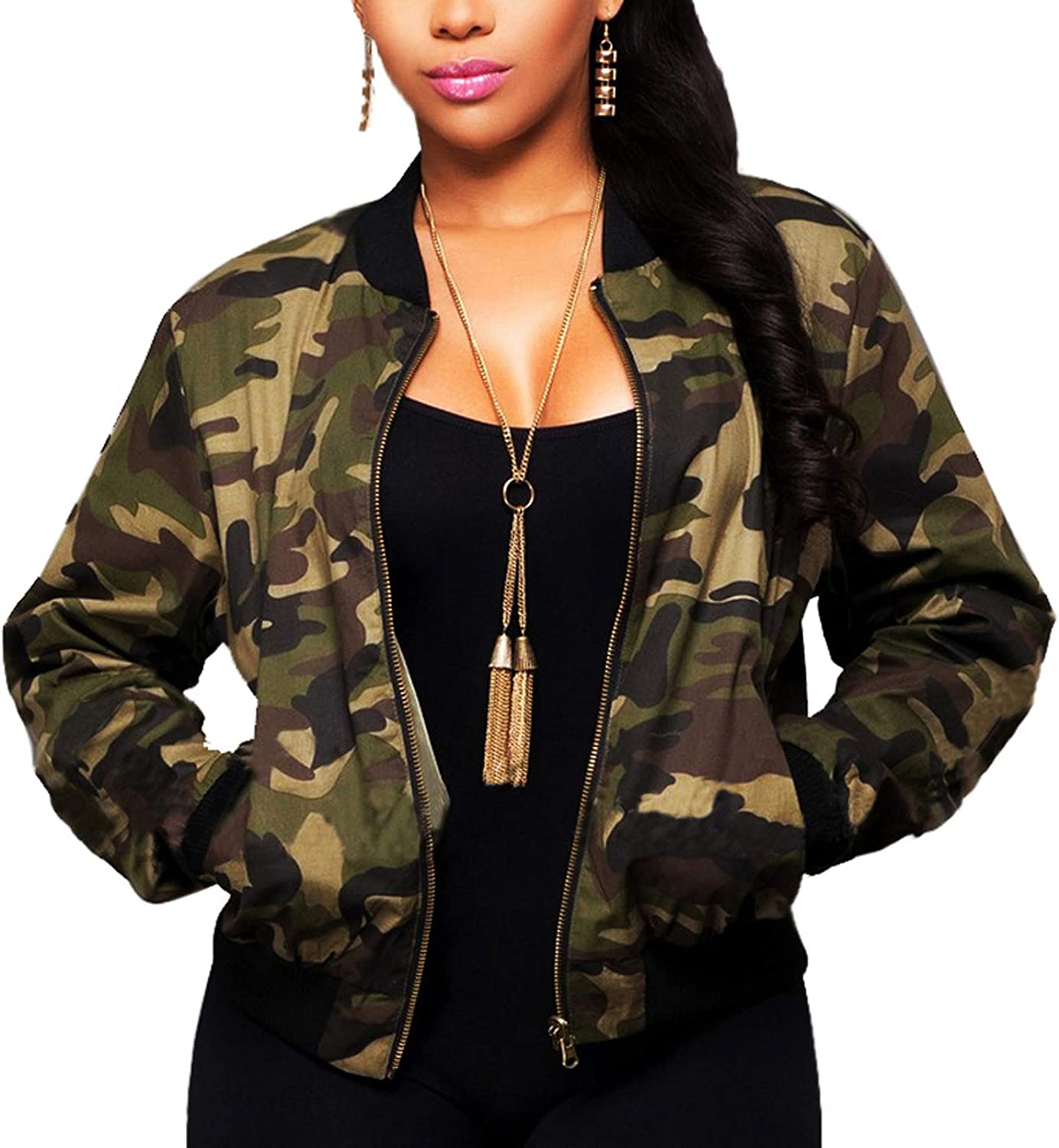 Women's Casual Camouflage Jacket With Pockets Sexy V Neck Long Sleeve Button Down Denim Coat