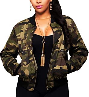 Women's Casual Camouflage Jacket With Pockets Sexy V Neck Long Sleeve Button Down Denim Coat…